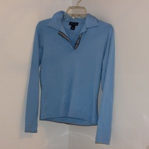 Ann Taylor Medium blue Sweater Collard long sleeve